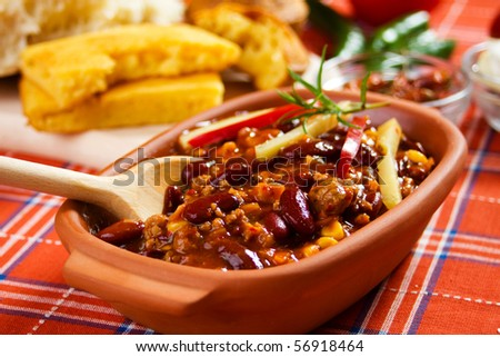 Traditional mexican chili with kidney bean and ground beef - stock photo