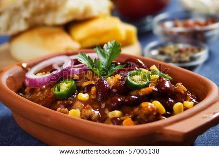 traditional mexican chili with kidney beans and ground beef - stock photo