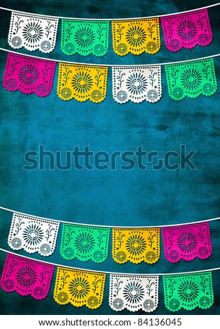 traditional Mexican paper decoration - stock photo
