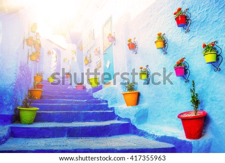 Traditional moroccan architectural details in Chefchaouen. - stock photo