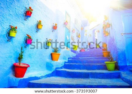Traditional moroccan architectural details in Chefchaouen, Moroc - stock photo