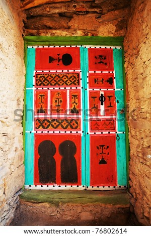 Traditional moroccan door, Tiyourgane Kasbah, Morocco, Africa - stock photo