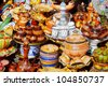 Traditional moroccan earthenware at Safi - stock photo