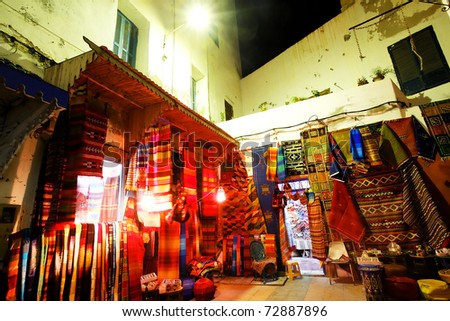 Traditional moroccan shop in Essaouira, Africa - stock photo