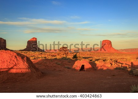 Traditional Navajo mud hut in Monument Valley. - stock photo