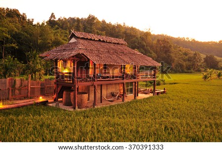Traditional Northen Thai House in Rice Field - stock photo
