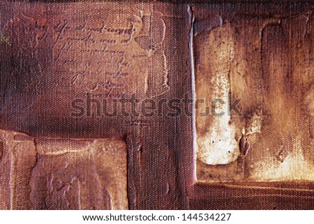 traditional oil painting detail with lettering relief - stock photo