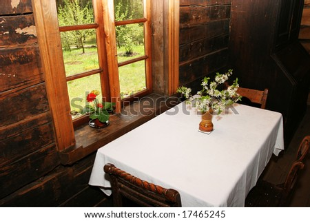 Traditional old latvian house interior - stock photo