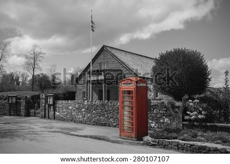 Traditional Old Style British Phone Booth. Selective Colored  - stock photo