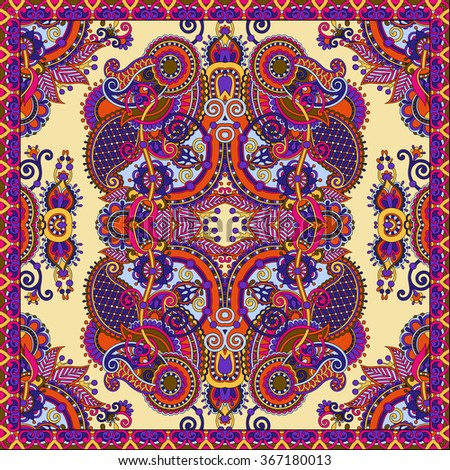 Traditional ornamental floral paisley bandanna. You can use this pattern in the design of carpet, shawl, pillow, cushion, raster version illustration - stock photo