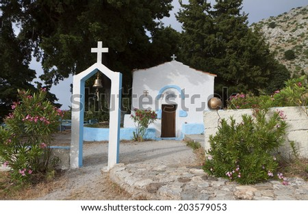 Traditional orthodox greek chapel at Kos island in Greece - stock photo