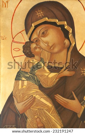 traditional orthodox icon from medieval or renaissance times made in tempera on wood - stock photo