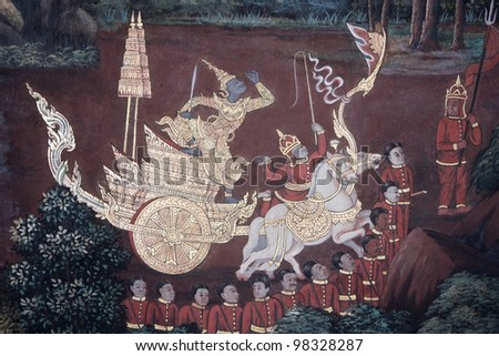 Traditional painting in a temple in bangkok, thailand - stock photo