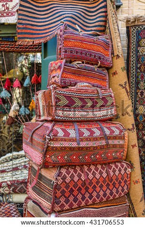 Traditional persian bags on the market in Esfahan, Iran - stock photo