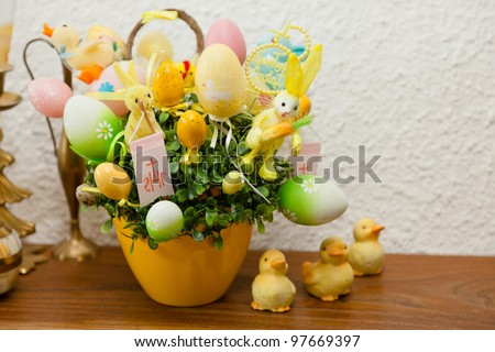 Traditional Polish Easter decorations inside a house. - stock photo