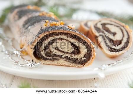 Traditional polish poppy seed cake for Christmas - stock photo