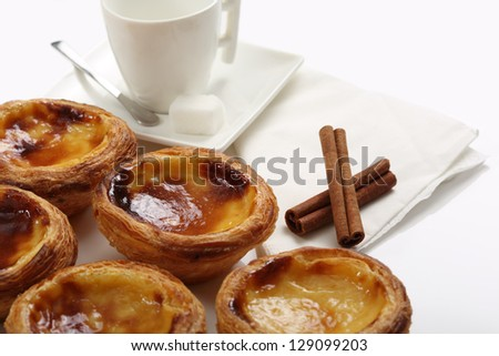"traditional portuguese cakes - cream cake ""pasteis de nata"" - stock photo"