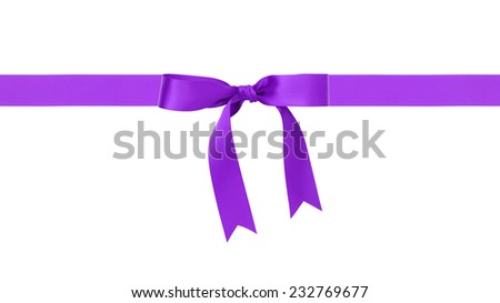 traditional purple ribbon bow border, isolated on white - stock photo