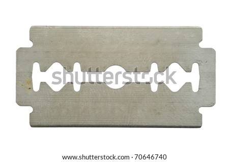 Traditional razor blade isolated on white. - stock photo