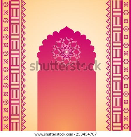 Traditional red and cream Indian temple gate with henna design borders and space for text - stock photo