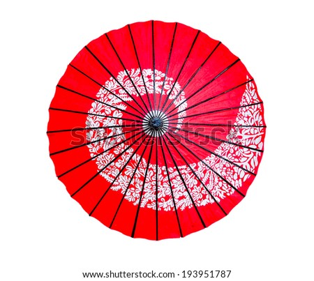 Traditional red Japanese paper umbrella isolated on white background - stock photo