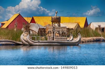 Traditional reed boat lake ~Titicaca Peru - stock photo