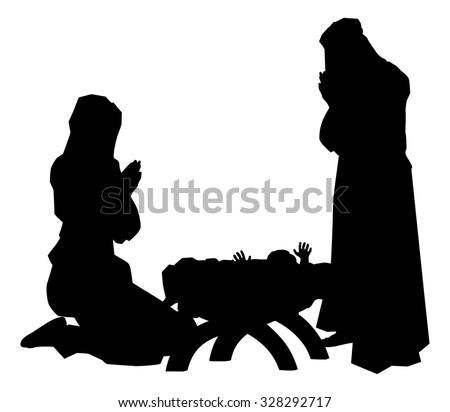 Traditional religious Christian Christmas Nativity Scene of baby Jesus in the manger with Mary and Joseph in silhouette - stock photo