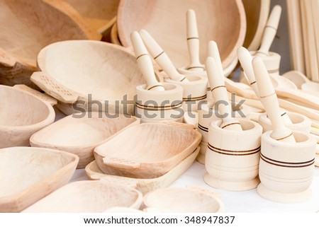 Traditional romanian wooden kitchenware  - stock photo