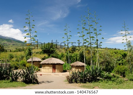 Traditional round mud house in africa - stock photo
