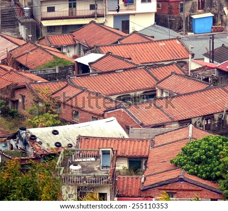 Traditional rural Chinese courtyard houses in southern Taiwan - stock photo