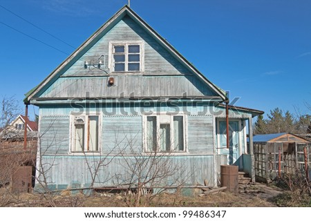 traditional russian dacha, spring - stock photo