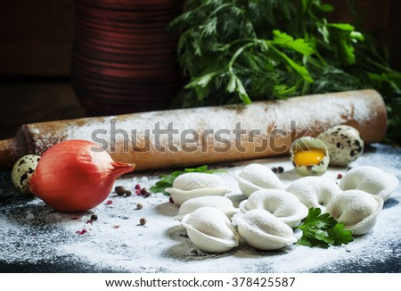 Traditional Russian dumplings with minced meat on the table with flour, parsley, eggs, onions and spices, selective focus - stock photo