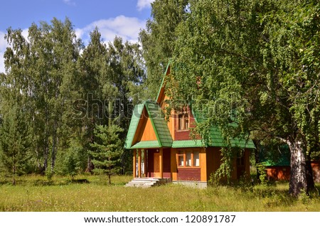 Traditional russian rural wooden house in forest - stock photo