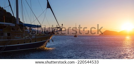 Traditional sail boat anchored in a bay of Skopea Limani, Turkey - stock photo