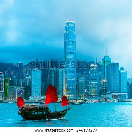Traditional sailboat sailing in Victoria harbor . Hong Kong  - stock photo