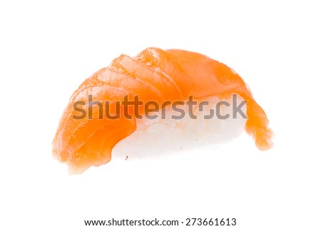 Traditional salmon sushi isolated on white background - stock photo