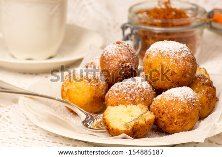 Traditional Saxon / German Quarkbällchen - stock photo