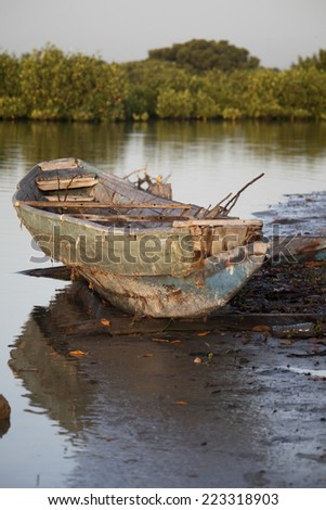 Traditional Senegalese wooden boat - stock photo