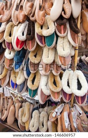 traditional Serbian footwear -  opanci - opanak - stock photo