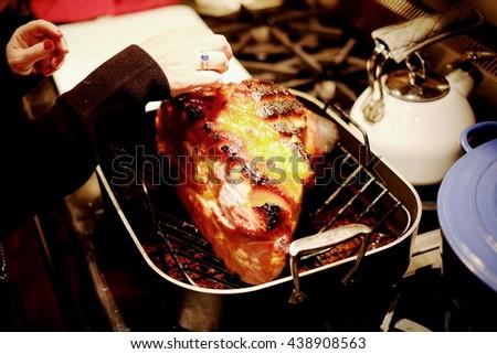 Traditional Sliced Honey Glazed Ham Ready for the Holidays - stock photo