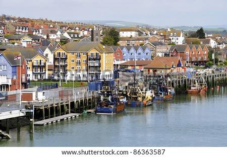 Traditional small British fishing port, Newhaven, England, UK - stock photo