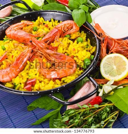 traditional spanish  rice - paella  closeup - stock photo