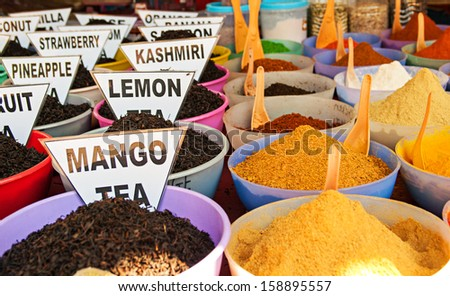 Traditional spices market in India - stock photo
