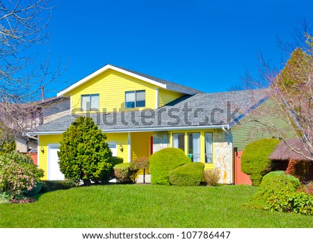 Traditional ( standard ) middle class home in the suburbs of Vancouver. Canada. - stock photo