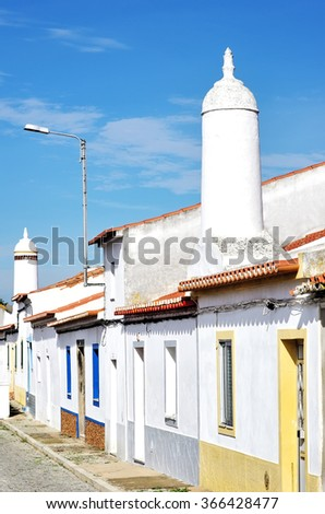 traditional street in south of Portugal - stock photo