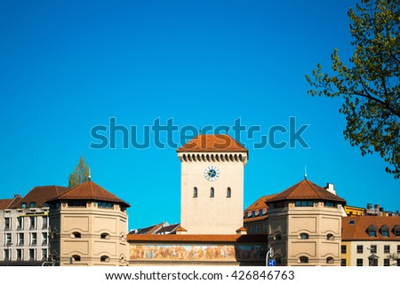 Traditional street view of old buildings in Munich, Bavaria, Germany - stock photo