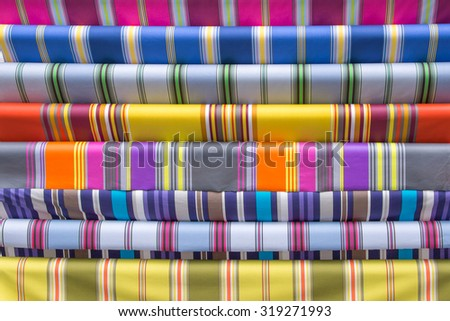 Traditional striped French Basque fabric display - stock photo