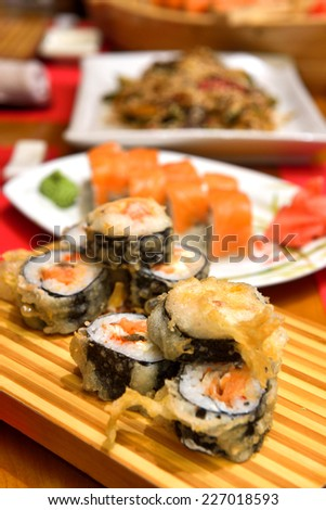 traditional sushi tempura - stock photo