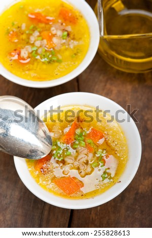 traditional Syrian barley broth soup Aleppo style called talbina or tirbiyali typical food after Ramadan - stock photo
