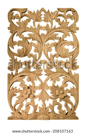 traditional teak wood carving isolated on white background - stock photo